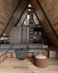 A Frame House Plans, Cabin In The Woods, Wooden Cabins, Forest House, Forest Cabin, Cabin Design, Cozy Cabin, Cabin Homes, Tiny Living