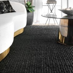 Shop The Curated Nomad Kowolska Black Jute Handmade Casual Solid Tassel Area Rug - On Sale - Overstock - 27299859 - 8' x 10' - Black Area Rugs For Sale, Rug Store, Black Rug, Rugs Usa, Round Rugs, Cool Rugs, Indoor Rugs, Online Home Decor Stores, Rugs Online