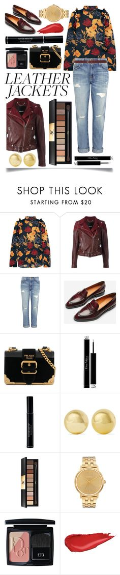 """""""Cool-Girl Style: Leather Jackets"""" by ittie-kittie ❤ liked on Polyvore featuring Mother of Pearl, Diesel, Current/Elliott, Everlane, Prada, Christian Dior, Kenneth Jay Lane, Yves Saint Laurent, Nixon and Isabel Marant"""