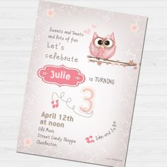 Birthday Party Invitation with name & thank you by babyartshop Birthday Party Invitations, Birthday Parties, Lets Celebrate, Thank You Cards, Clip Art, Names, Messages, Digital, Prints