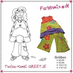 This is like a lot of European sewing patterns-fun! Perfect for little skippy people.  Farbenmix GREETJE Tunic Set German/English by MyPatternPlace