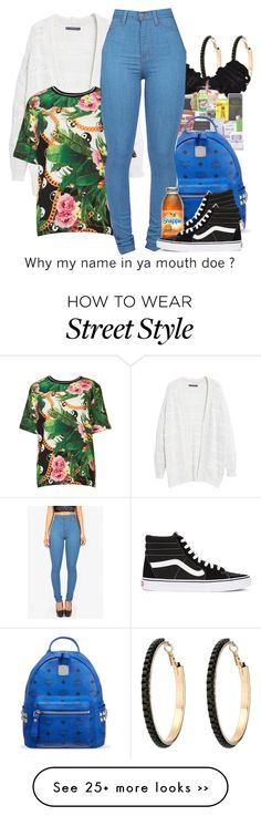 """Street style."" by cocochanelox on Polyvore featuring GUESS, MCM, Violeta by Mango, Topshop and Vans"