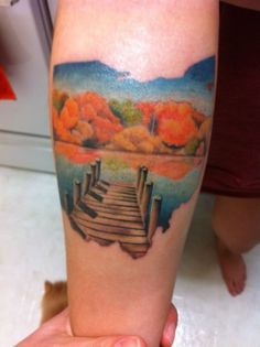 My home state!! The Buckeye state is represented by this remarkably pretty tattoo of Lake Erie.