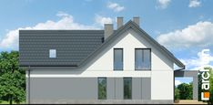 Dom w jaskierkach 2 Modern Bungalow Exterior, Modern Family House, Pergola, Garage Doors, Shed, Outdoor Structures, Building, Outdoor Decor, Home Decor