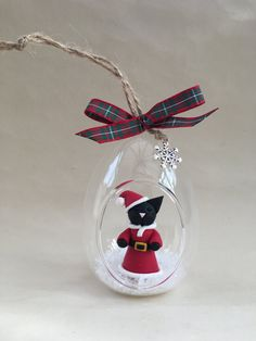 Pussy Cat Santa inside a Christmas glass bauble Unique Handmade Ornament unusual OOAK gift tree decoration by MomapawsHomecraft on Etsy