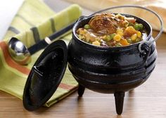 """Potjie - directly translated """"little pot"""" from Afrikaans or Dutch is traditionally a round cast iron three-legged (tripod) pot. Braai Recipes, Beef Recipes, Cooking Recipes, Cooking Tips, Oven Cooking, Curry Recipes, Recipies, South African Dishes, South African Recipes"""
