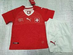 2018 World Cup Switzerland Home Red Kids/Youth Soccer Uniform