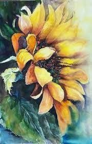 Sunflower Art, Watercolor Sunflower, Pastel Watercolor, Watercolour Painting, Watercolors, Sunflower Paintings, Watercolor Design, Art Drawings, Canvas Art