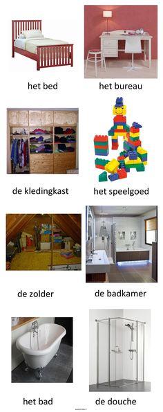 Woordkaarten. Thema : het huis (2) Dutch Words, Dutch Language, Teaching Grammar, Learn French, Vocabulary, Spanish, Education, Learning, Children