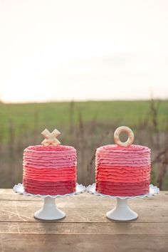 kiss, valentine day, pink cakes, weddings, bridal shower ideas, ruffle cake, cake stands, wedding cakes, bridal showers