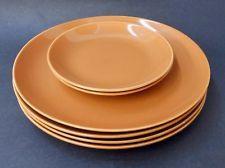 Set of 6 MCM Santa Anita Pottery California Modern Pumpkin Bread & Dinner Plates  seller askin $65