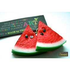 Watermelon Earrings. Fruit Earrings for colorful life! (135 SEK) ❤ liked on Polyvore featuring jewelry, earrings, summer earrings, plastic jewelry, earring jewelry and plastic earrings