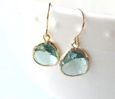 *Light soft green (looks just like the semi precious stone Prasiolite or green amethyst) glass drops dangle from gold french wires. Simple