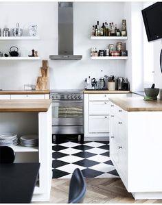 15 Functional and Cozy Scandinavian Interior Design Ideas - Scandinavian kitchen design idea - Kitchen Tiles, Kitchen Countertops, New Kitchen, Kitchen Dining, Kitchen Decor, Danish Kitchen, Laminate Countertops, Kitchen White, Kitchen Chairs