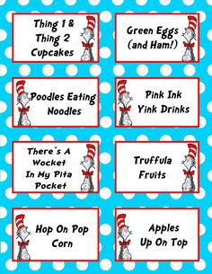 Dr. Seuss Birthday Party 3.5x2.5 Flat Labels for Food Tables, Candy Buffet Folding You Print - Big top - Circus. $2.99, via Etsy.