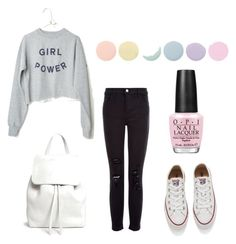 """""""Cute but simple."""" by mariimolly ❤ liked on Polyvore featuring J Brand, Converse, Mansur Gavriel, Deborah Lippmann and OPI"""