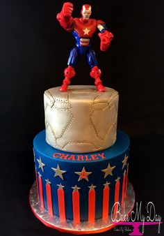 Iron Man Patriot birthday cake with metallic steampunk inspired mask tier , stars and stripes.