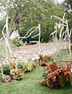Love the ribbons - could tie them to driftwood with palm leaves