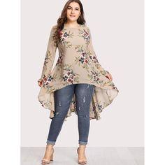 Plus Botanical Print Dip Hem Blouse -SheIn(Sheinside) Belted Shirt Dress, Tee Dress, Dress Plus Size, Plus Size Outfits, Shein Dress, Mode Hijab, Plus Size Blouses, Pakistani Dresses, Blouse Designs