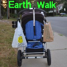 Going On An Earth Walk - collecting recycling and trash together -- We love this! <3