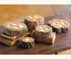 Ideas for rustic wood crafts tree stumps candle holders Diy Candles, Tea Light Candles, Tea Lights, Candle Lighting, Rustic Lighting, Wooden Centerpieces, Wedding Centerpieces, Table Decorations, Centerpiece Ideas
