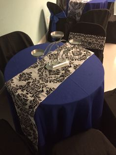 Event Design by Nu Epps at Esyntial Elements Consulting Inc. Blue Black and Damask