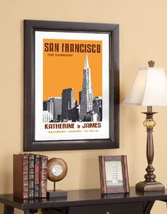 Wedding Gift - 20x30 Poster - San Francisco Skyline - Choose your city image and color - Style C. $85.00, via Etsy.