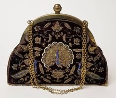 Art Deco purse with peacock motif decorated in metal sequins and beads, with original mirror Vintage Handbags, Peacock, Fashion Backpack, Burgundy, Art Deco, Sequins, Velvet, Purses, Beads