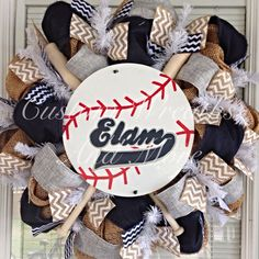 Custom Order Baseball Team Wreath personalized with your name on Etsy, $95.00