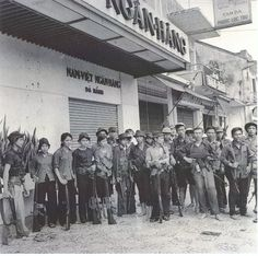 VC fighters in Da Nang with M-16s and AK-47s ~ Vietnam War