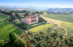 The former home of the Machiavelli family (including that Machiavelli), designed by none other than Michelangelo, this 15th-century estate sits on 600 acres of vineyards just 20 minutes south of Florence. The staffed villa features ten bedrooms, an elegant drawing room, a full kitchen, and a stone wine cellar with a long table ideal for family-style dinners served with wine from the estate.
