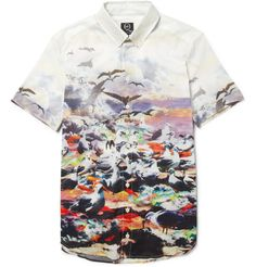 MCQ ALEXANDER MCQUEEN  BIRD-PRINT SHORT-SLEEVED COTTON SHIRT