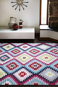 Armadillo&Co Latitude Collection 'Caravan' rug in Cerise Multi-Colour   www.armadillo-co.com - COLOURS