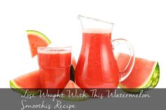 Lose weight with watermelon smoothie: Recipe: Take some crushed ice, low-fat milk, ¼ cup of low fat yogurt, 1 tablespoon lemon and 1 bowl of watermelon. Blend the ingredients together to make a thick smoothie drink. Juice Smoothie, Smoothie Drinks, Healthy Smoothies, Smoothie Recipes, Juice Recipes, Juice 2, Apple Juice, Weight Loss Drinks, Weight Loss Smoothies