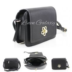 c3d2afdf9e Details about Girls Metalic Flower Closure Black Cross Body Ladies Fully  Lined Shoulder Bag