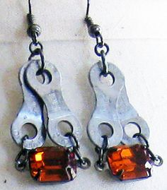 Upcycled Bike Chain Earrings with Vintage by WarbleswithBella, $20.00