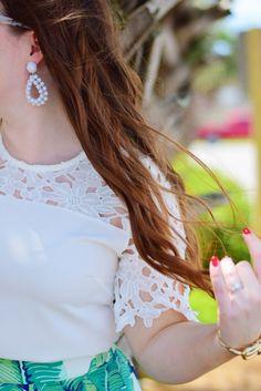 Palm Print skirt + laser cut top + statement earrings + beach waves