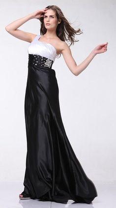 Black/White Formal Dress Prom Chiffon One Shoulder Rhinestone Empire Waist Full Length Dress
