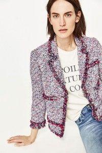 boucle fringe blazer from Zara + cool tee + jeans
