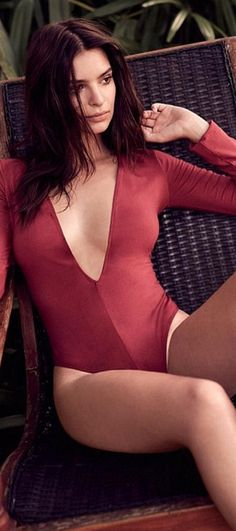 Emily Ratajkowski wearing Express One Eleven Deep V-Neck Thong Bodysuit 52a78d766