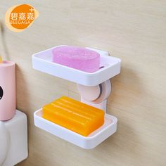 BEEGAGA Silicone Suction Cup Double Layers Plastic Soap Holder Bathroom Storage Organizers Soap Boxes Soap Dishes NEW