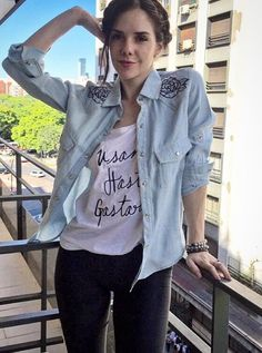 Denim Button Up, Button Up Shirts, Girl Crushes, Singer, Actresses, T Shirts For Women, Celebrities, Beauty, Characters