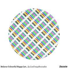 Belarus Colourful Happy Letters Paper Plate