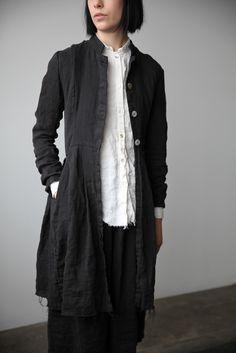 Róisín Washed Linen Long Jacket - Black   Ovate
