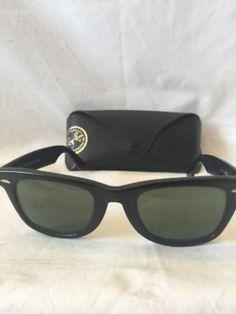 ee7bbe3763 Vintage 1960s B L Ray Ban USA Wayfarer 5022 Black Sunglasses w case D2