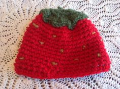 Cute Little Strawberry Hat by BeaniesandBowsShop on Etsy