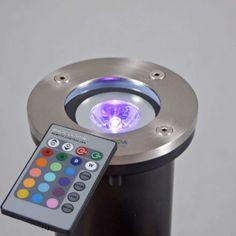 Bodenstrahler Basic rund mit RGB LED und Fernbedienung: #bodenstrahler #farbwechsel #außenbeleuchtung