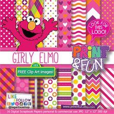 Girly Elmo Digital Paper Patterns sesame street Backgrounds Clip art Clipart Fuchsia Pink Red chevron polkadots polka dots