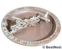 Whitehall Aluminum Hummingbird Sundial Bird Bath, Cop. Verdi