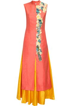 Coral pink embroidered achkan kurta with yellow lehenga skirt available only at Pernia's Pop Up Shop.